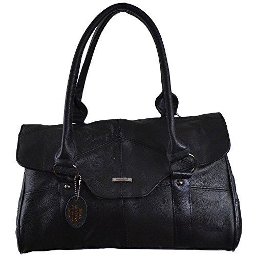 Tan Over Leather Folder Flap Bag Dark Fawn Magentic And Black Shoulder Handbag Ladies Clasp With Brown nCwqZBBU
