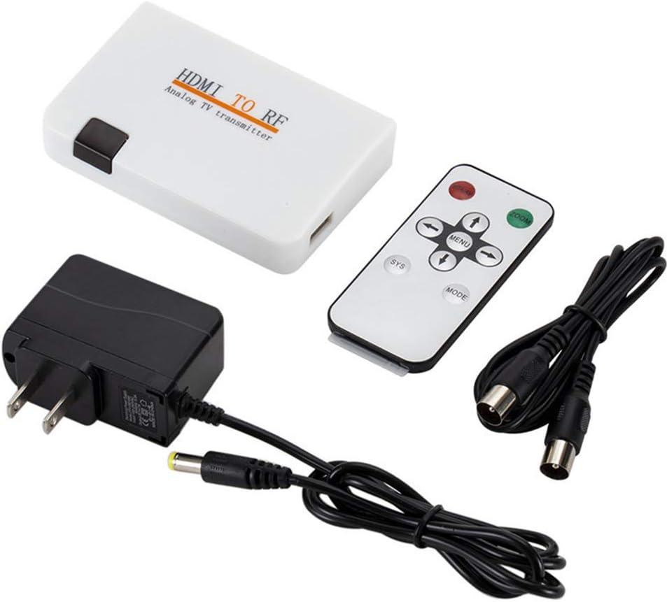 Modulador de convertidor de RF de HDMI a coaxial para TV, Adaptador de convertidor de Salida coaxial de Entrada HDMI con Control Remoto Adaptador de transmisor de señal analógica de RF con