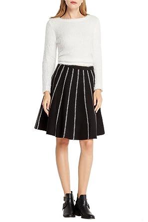 61982de46 Poshsquare Women's Fashion Trendy Black Knit High Waisted Skater Skirt S124  S