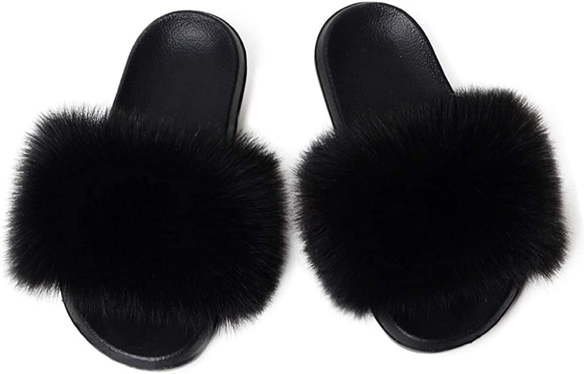 LADIES WOMENS SLIP ON FLUFFY FAUX FUR SLIDERS HOME COMFY SLIPPERS BEACH SANDALS