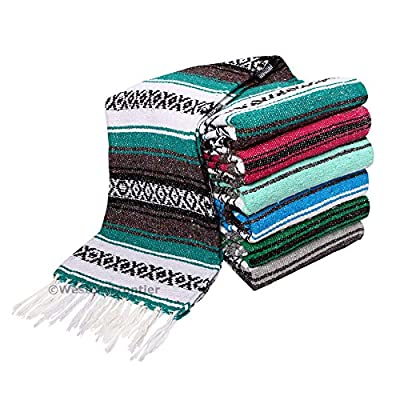 El Paso Designs Genuine Mexican Falsa Blanket - Yoga Studio Blanket, Colorful, Soft Woven Serape Imported from Mexico
