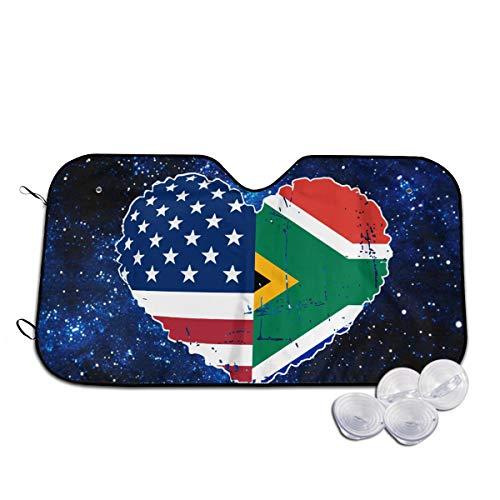A10U-ZYZ Windshield Sun Shade South African USA Flag Heart Funny Visor Car Sunshade Universal 51.2x27.5 Inch,55x30 Inch for Cars SUV Truck,Block The Sun,Protects Interior Cool (Sunshades Eyewear)