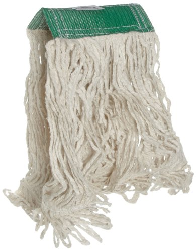 Cotton Looped End Wet Mop (Rubbermaid Commercial Super Stitch Cotton Looped End Wet Mop, Medium, 5-Inch Green Headband, White (FGD15206WH00))
