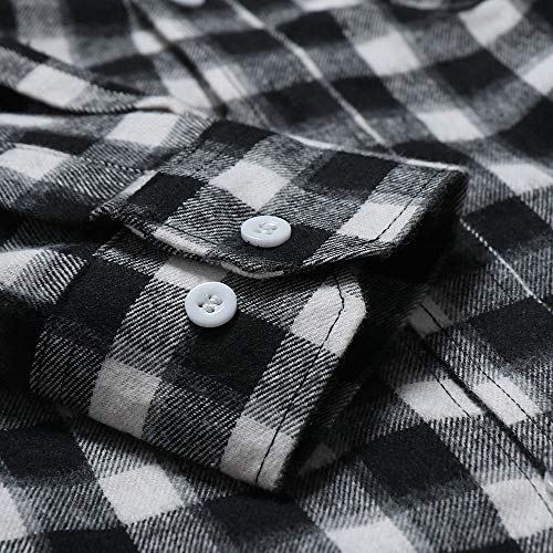 Blouse With Autumn Fastener Sweater Sweatshirts Men's Plaid Long Jacket Coat Tartan Pullover Sleeved Daily Black Shirt Button Manadlian Top Tight qTqCOAw