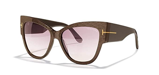 605ee58bc91 Image Unavailable. Image not available for. Colour  Tom Ford Cateye  Sunglasses TF371 Anoushka 50F Iridescent Chalkstripe Brown ...