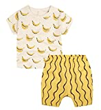 Unisex Baby Girls Boys' Toddler T-shirt Shorts Set Outfits(12-18months,Banana)