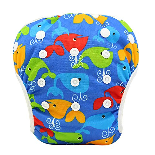 OHBABYKA Baby Reusable Washable Swim Diaper Pants Pool Cover, One Size (Whale)