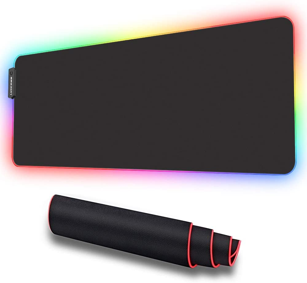 LUXCOMS RGB Soft Gaming Mouse Pad Large, Oversized Glowing Led Extended Mousepad ,Non-Slip Rubber Base Computer Keyboard Pad Mat,31.5X 11.8in : Office Products