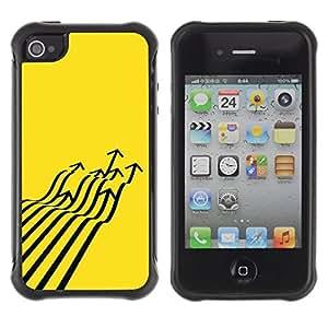 """Pulsar iFace Series Tpu silicona Carcasa Funda Case para Apple iPhone 4 / iPhone 4S , Avión de combate Flecha Arte abstracto amarillo"""""""