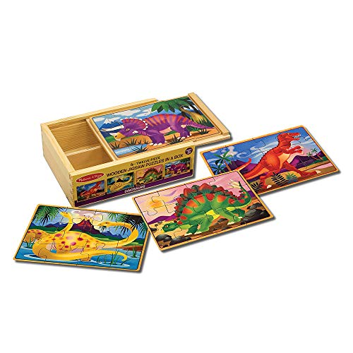 Melissa & Doug Dinosaur Jigsaw Puzzles in a Box (Four Wooden Puzzles, Beautiful Artwork, Sturdy Wooden Storage Box, 12 Pieces, Great Gift for Girls and Boys - Best for 3, 4, 5, and 6 Year Olds)