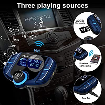 (Upgraded Version) Sumind Car Bluetooth FM Transmitter, Wireless Radio Adapter Hands-Free Kit with 1.7 Inch Display, QC3.0 and Smart 2.4A USB Ports, AUX Output, TF Card Mp3 Player(Blue): Car Electronics