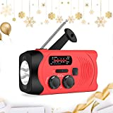 Emergency Weather Radio AM/FM/NOAA Solar Crank Radio with 2000 mAh Power Bank, Flashlight,SOS Alarm, Phone Charger for Hurricanes, Tornadoes and Storms