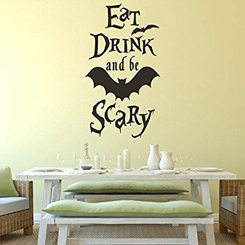 AmericanVinylDecor Halloween Wall Decor- Flying Bats Vinyl Eat Drink and Be Scary Art Sticker Party Room Decoration,)