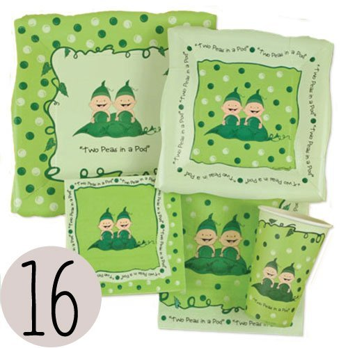 Twins Two Peas in a Pod - Baby Shower Party Tableware Plates, Cups, Napkins Bundle for 16 (Pod Peas Twins Two)