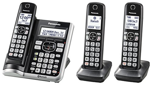 (PANASONIC Link2Cell Bluetooth Cordless Phone System with Voice Assistant, Call Blocking and Answering Machine. DECT 6.0 Expandable Cordless System - 3 Handsets - KX-TGF573S (Silver) )
