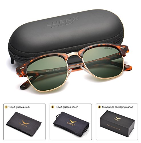 LUENX Men Clubmaster Polarized Sunglasses Women UV 400 Protection Grey Green Lens Tortoise Retro Classic Frame 51MM,with (Clubmaster Style Sunglasses)