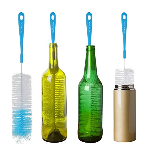 "16"" Long Bottle Brush Cleaner for Washing Wine, Beer, Swell, Decanter, Kombucha, Thermos, Glass Jugs and Long Narrow Neck Sport Bottles"