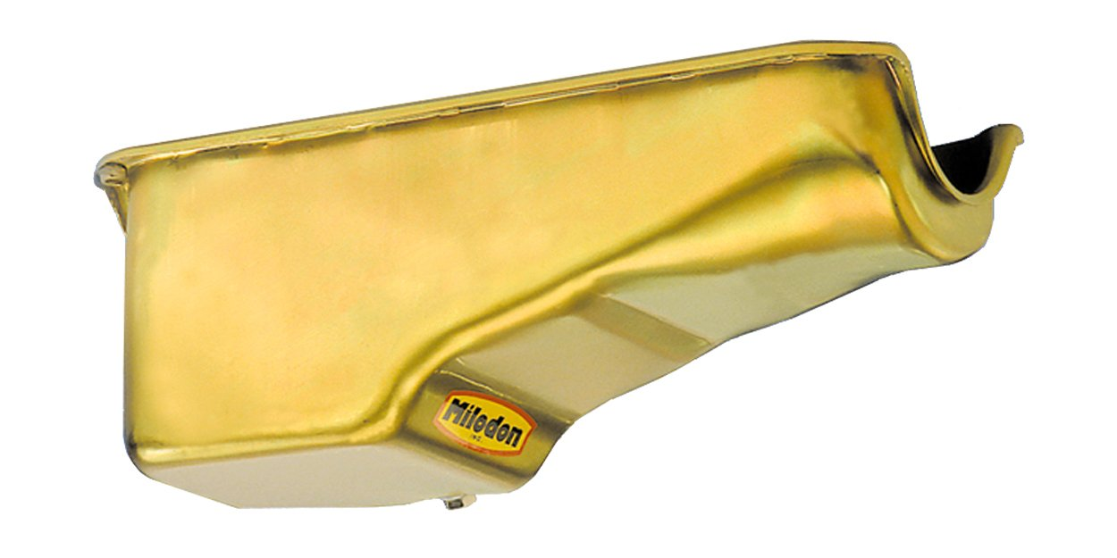 Milodon 30700 Steel, Gold Zinc Plated Stock Replacement Oil Pan for Small Block Chevy by Milodon