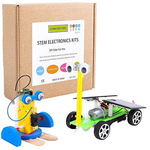 CCinaCiao Robotic Science Kits, DC Motors Electronic Assembly Kit, DIY Solar Car Kits, STEM Kits for Boys and Girls, Kids Science Experiment Kits(2 Kits)