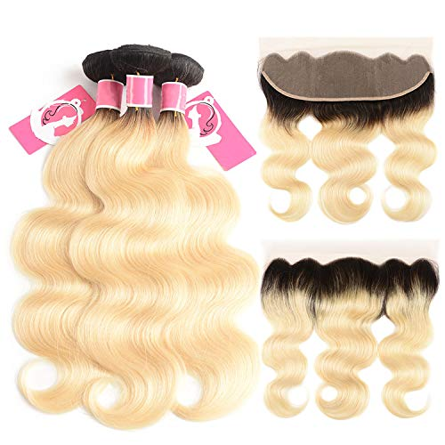 Hair Ombre Blonde Bundles With Frontal 1B/613 Dark
