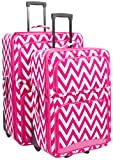 Ever Moda Pink Chevron 2 Piece Expandable Luggage Set