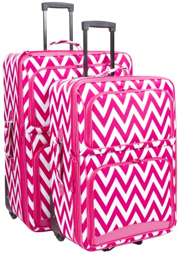 Ever Moda Pink Chevron 2 Piece Expandable Luggage Set by Ever Moda