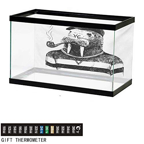 wwwhsl Aquarium Background,Indie,Hand Drawn Dressed Up Walrus Animal Long Teeth Smoking Pipe Antromorphic Sketch Art,Black White Fish Tank Backdrop 72