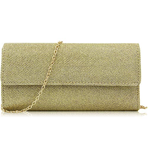 Purse Deep Gold Evening Clutches Clutch Chain Milisente Women Elegant Bag Sequins Ppwg8axq
