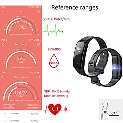 NEWYES Blood Pressure Smart Watch Fitness Tracker NBS04 Bracelet with SPO2H Heart rate monitor Sleep Management Pedometer with OLED Touch Screen for Android iOS Smartphone (Black)