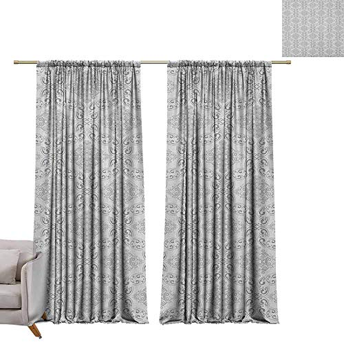 (berrly Window Curtains Grey,Victorian Antique Tile Pattern with Royal Curlicues Old Rich Scroll Regency Motifs, Grey Pale Grey W96 x L108 Grommet Window Drapes)