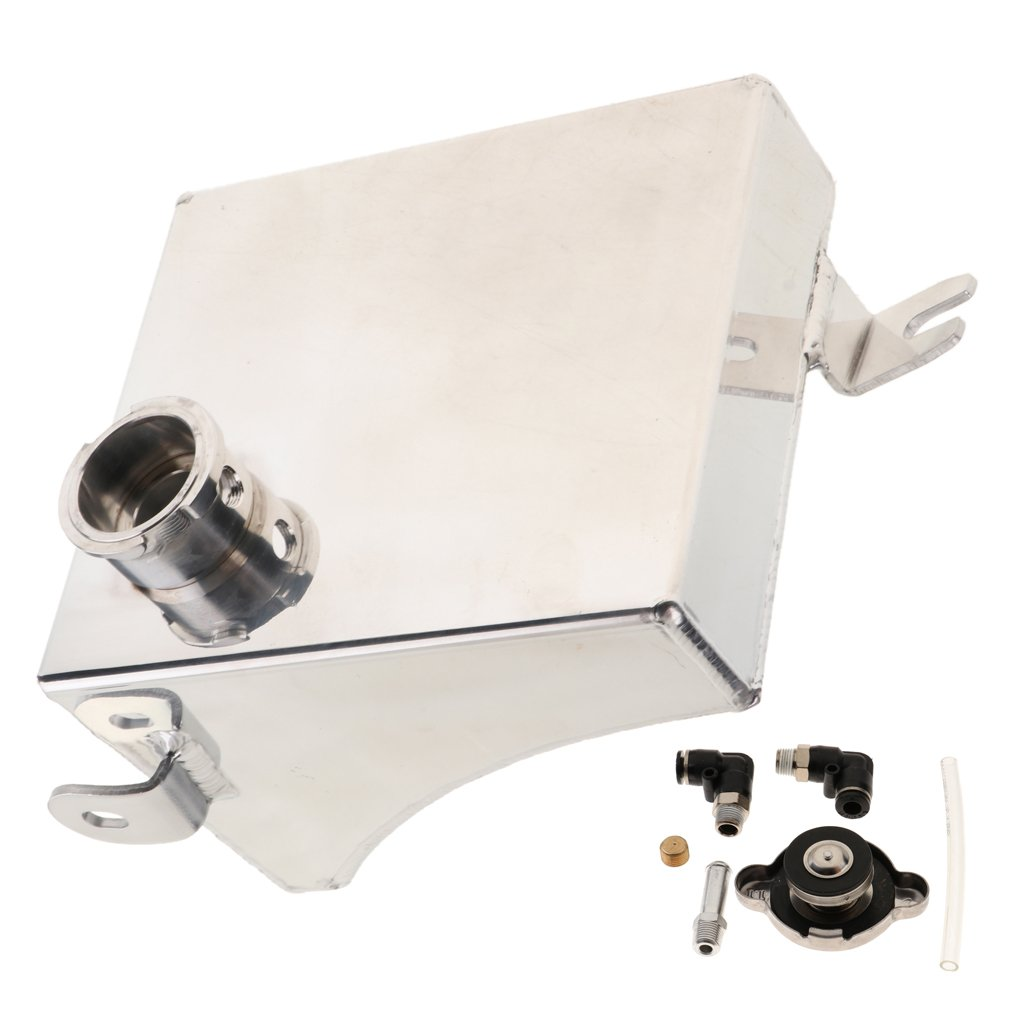 MagiDeal Univerial Car Modified Water Expansion Tank Bevel With Cap Silver SC-OT004