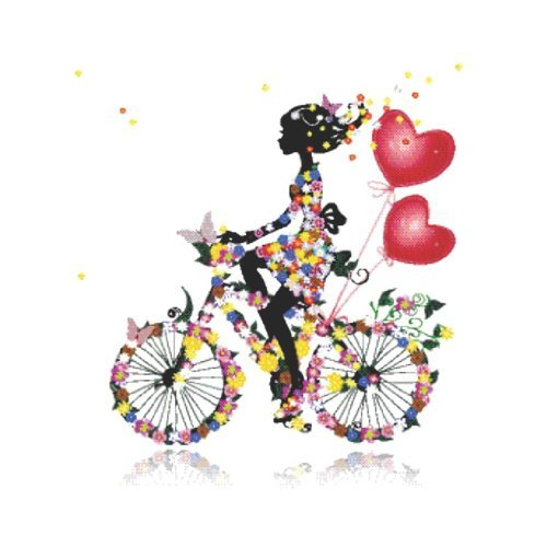 Discounted Girl Flower - Decals & Stickers : Little Girl Riding A Colorful Flower Butterfly Bike With Heart Balloons Living Room Bedroom Kitchen Home Decor Picture Art Image Peel & Stick Graphic Mural Design Decoration - Discounted Sale Item - Size : 30 Inches X 30 Inches - 22 Colors Available