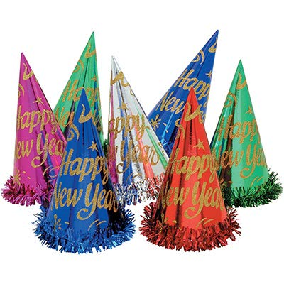 Creative Converting Club Pack Holiday Party Theme New Year Assorted Color Foil Cone Hats, Box of 50 Cone Hats -