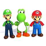 Jiahui Brand 3 Pcs Super Mario Bros Luigi Mario Yoshi PVC Action Figures Toy, 4.7