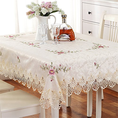Cross Stitch Lace - TaiXiuHome European Style Lace Emboridery Round/Square/Rectangle Table Cover Cloth Tablecloth Cross - Stitch Dinning/Wedding/Coffee Shop Round 150cm (59inch)