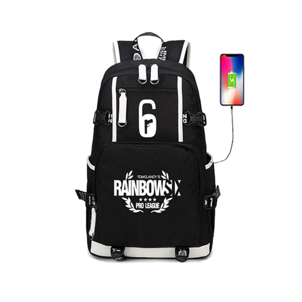 Rainbow Six Siege USB Charging Port Black Oxford Backpack Free R6 Keychain (#1)