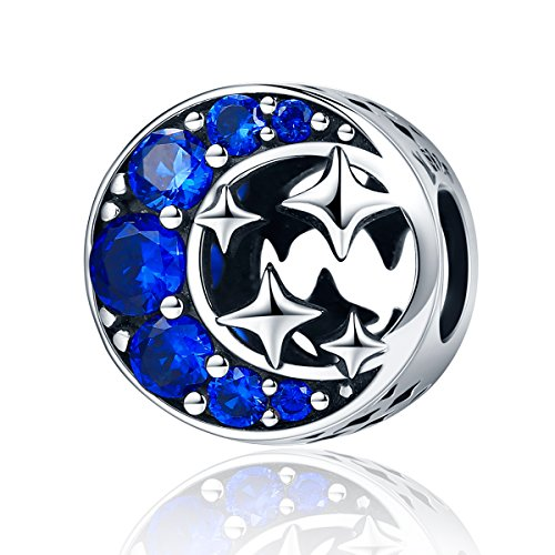 - 925 Sterling Silver Moon and Star Charm Bead Blue CZ Charms Fit Bracelet Necklace for Women Girls