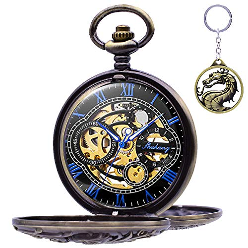 Antique Watch Chain - Lucky Dragon Skeleton Pocket Watches - Udaney Antique Mechanical Hollow Case Double Hunter Skeleton Dial with Chain for Birthday Gift