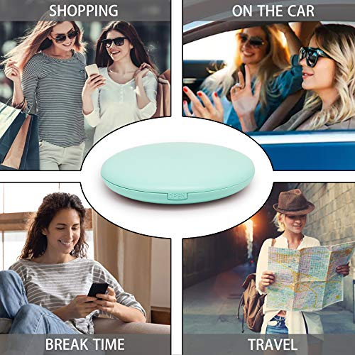 LED Lighted Travel Makeup Mirror 10X Magnification Dual Sided Vanity Mirror with Lights Portable, Pocket, Lighted, Makeup Mirror | Perfect for Purse, Handbag & Travel Beauty Needs |(Blue)