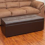 Best Selling Amelia Leather Storage Ottoman, Brown