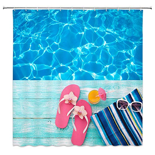Swimming Pool Shower Curtain Decor Pink Flip Flop Juice Sunglasses on Blue Wooden Board Wood Bathroom Curtain Polyester Fabric Machine Washable with Hooks 70x70 ()