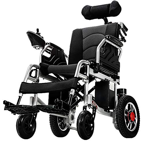 ACEDA Heavy Duty Electric Wheelchair with Headrest, Foldable and Lightweight Powered Wheelchair, 360° Joystick, Weight Capacity 120KG