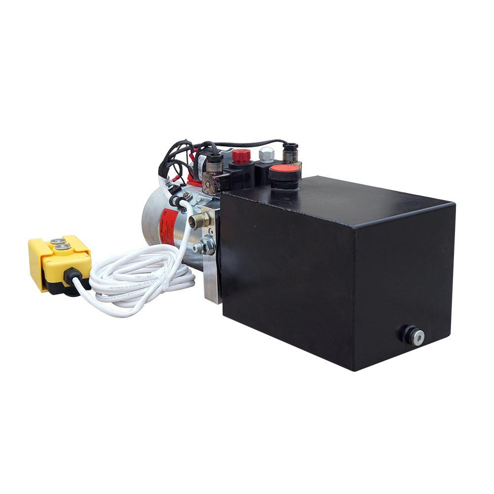 High Quality Double Acting Hydraulic Pump12v Dump Lehman 12 Volt Motor Wiring Diagram Trailer 6 Quart 3200 Psi Max Home Improvement