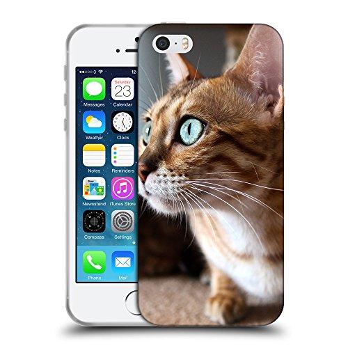 Just Phone Cases Coque de Protection TPU Silicone Case pour // V00004303 yeux verts Surpris de chat // Apple iPhone 5 5S 5G SE