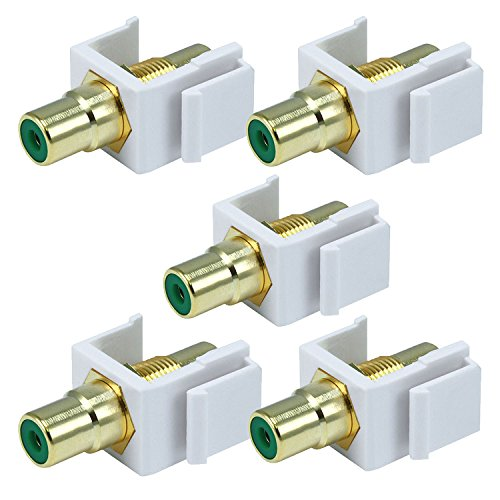 White Female RCA Keystone Jack Modular with Green Center for Wall Plates (5/pk) ()