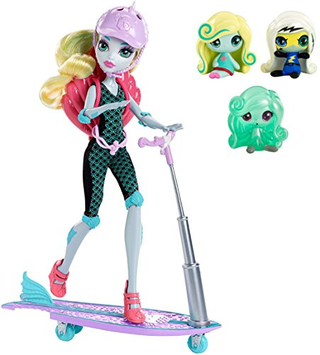 Monster High Minis Power Ghouls Frankie Stein, an Original Ghouls Lagoona Blue and a Getting Ghostly Twyla Figures, 3 Pack PLUS Surf to Turf Scooter Lagoona Blue (Monster High Costumes At Walmart)