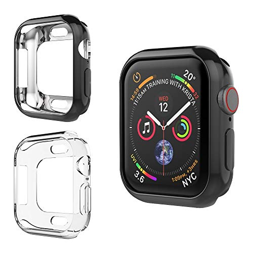Alritz for Apple Watch 4 Bumper 40mm, Soft TPU Protective Case Cover for iWatch Series 4, Black and Clear