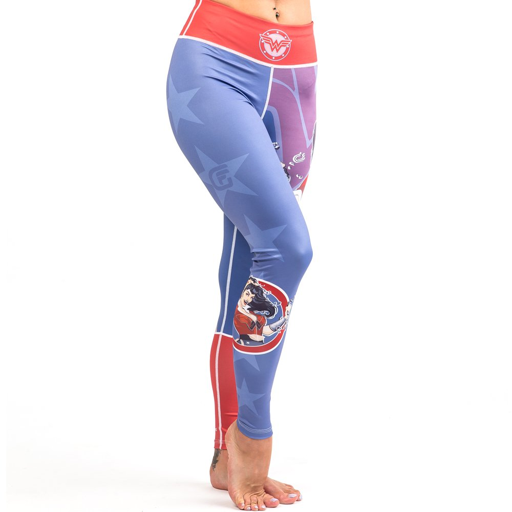 Fusion Fight Gear Wonder Woman DC Bombshells Compression Leggings Spats Yoga Pants Tights