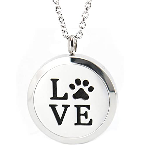 Amazon love with dog paw essential oil diffuser necklace love with dog paw essential oil diffuser necklace aromatherapy pendant velvet jewelry bag aloadofball Gallery