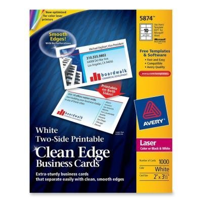 Avery Two-Side Printable Clean Edge Business Cards, Laser, 2 x 3 1/2, White, (Clean Edge Cards)